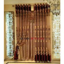 Raw Silk Wine Color Beautiful Decorative Sheer Curtain For Living