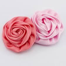 satin roses 24pcs lot pink satin rolled flowers matte flower hair