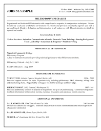 Teaching Resume Samples Entry Level by Phlebotomist Resume Samples Phlebotomy Resume No Experience