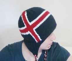 Flag Iceland Knit Iceland Flag Hat Handmade With Earflap Icelandic Hat