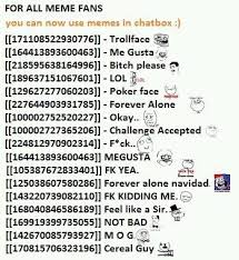 Meme Face List - fancy meme faces list meme codes faces for chat emoticons kayak
