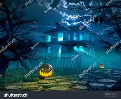 pumpkin halloween background halloween night background scary house crows stock illustration