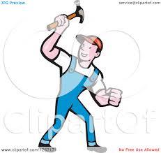 clipart of a cartoon handyman or carpenter with a hammer royalty