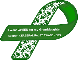 cerebral palsy ribbon custom ribbon i wear green for my granddaughter support cerebral