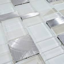 White Glass Tile Backsplash Kitchen Metal And Glass Tile Backsplash Cheap Brush Aluminum Tiles Crystal