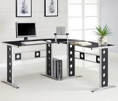 L Shaped Black Glass Desk Furniture Breathtaking Home Office Decoration Design With Ikea