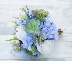 hydrangea bouquet touch white roses silk blue hydrangeas and succulent