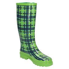 Womens Tartan Print Wellington Boots Spot On Ebay