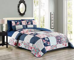 Queen Sheet Set 6 Piece Floral Butterfly Patchwork Reversible Bedspread Quilt With