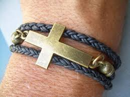 leather bracelet with cross images Unisex leather bracelets urbansurvivalgearjewelry artfire shop jpg