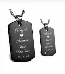 his and hers dog tags stainless steel black dog tag his hers necklace set engraved