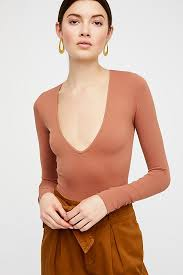 seamless solid deep v free people
