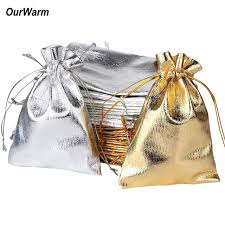 metallic gift bags ourwarm 100pcs 7 9cm gold and silver drawstring gift bags metallic