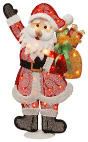 lighted tinsel santa decoration traditional outdoor