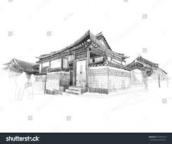 vector sketching korean traditional house hanok stock vector