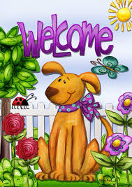 amazon com welcome dog spring garden flag cute pets flowers