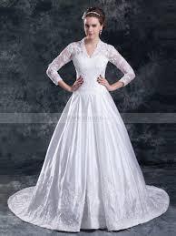 v neck wedding dresses v neck satin wedding dress with lace bodice and sleeves