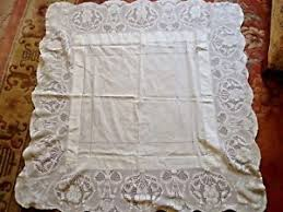 vintage shabby chic table cloth with broad hand made lace edge ebay