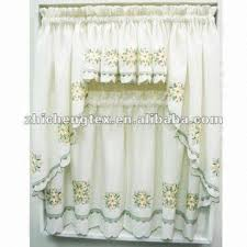 Sheer Embroidered Curtains Embroidered U0026 Sheer Kitchen Curtains Floral Cream Ruffled Kitchen