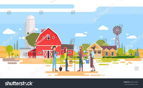 farmers group stand before big farm stock vector 462544432