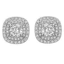 diamond stud earrings for women cushion cut diamond halo stud earrings at 1stdibs