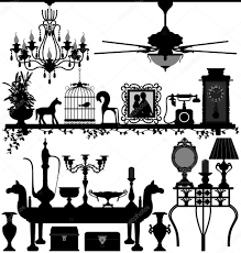 antique home decoration furniture interior design u2014 stock vector
