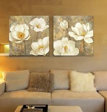 White Magnolia Floral Painting For Modern Family Room Inspiration - Painting family room