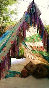 boho tent glamping teepee vintage scarves gypsy hippie patchwork