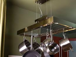 Kitchen Island Pot Rack Lighting Diy Pot Rack Double Built In Oven Vintage Wall Lights Square