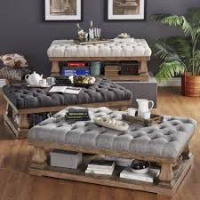 storage bench coffee table round tufted ottoman upholstered black storage white leather coffee