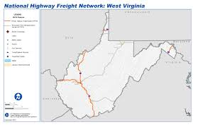 Map Of Virginia Cities National Highway Freight Network Map And Tables For West Virginia