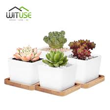 online get cheap glazed bonsai pot aliexpress com alibaba group wituse 4x l size glazed bonsai pot succulent plant garden pot white ceramic flower pot indoor