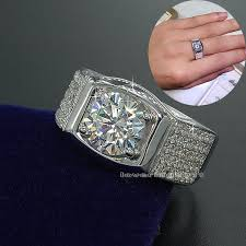 fashion male rings images Fashion jewelry solitaire men ring 3ct gem 5a zircon stone 925 jpg