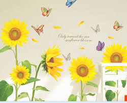 sunflower wall stickers for living room home decor wall art