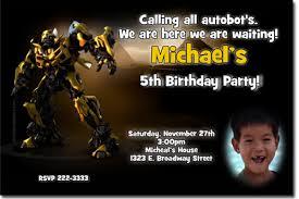 transformers birthday invitations bumblebee birthday invitations