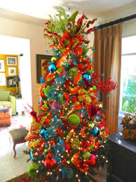 red green blue christmas trees reindeer christmas tree in red