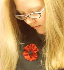 fiber arts and quilting a poppy for veterans day
