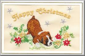 boxer dog xmas boxer dog christmas card embroidered by dogmania c4348