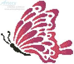 artecy cross stitch pink butterfly cross stitch pattern to
