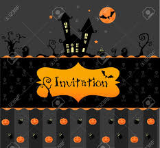 vector halloween invitation card with pumpkns bats and black