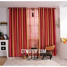 red and orange striped custom cheap blackout long curtains