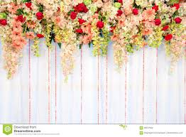 beautiful flowers and wave curtain wall background wedding cer