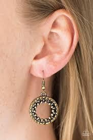earrings all the way up paparazzi light the way brass rhinestone studded earrings