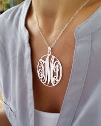 sterling silver monogram necklace pendant personalized monogram necklace silver monogram necklace 1 inch
