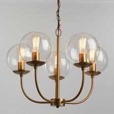 Chandelier Antique Brass Antique Brass And Glass Globe 5 Light Alessa Chandelier World Market
