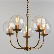 Globes For Chandelier Antique Brass And Glass Globe 5 Light Alessa Chandelier World Market