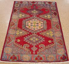 Red Tribal Rug 3 X 5 Persian Viss Tribal Hand Knotted Wool Reds Blues Oriental