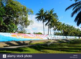 palm tree paintings stock photos palm tree paintings stock welcome to paradise sign at the entrance of port douglas far north queensland fnq
