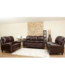 Abbyson Living Leather Sofa Living Room Sets Cambridge 3 Piece Leather Set