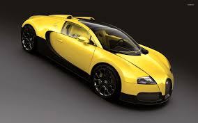 yellow bugatti chiron front side view of a blue bugatti chiron wallpaper car